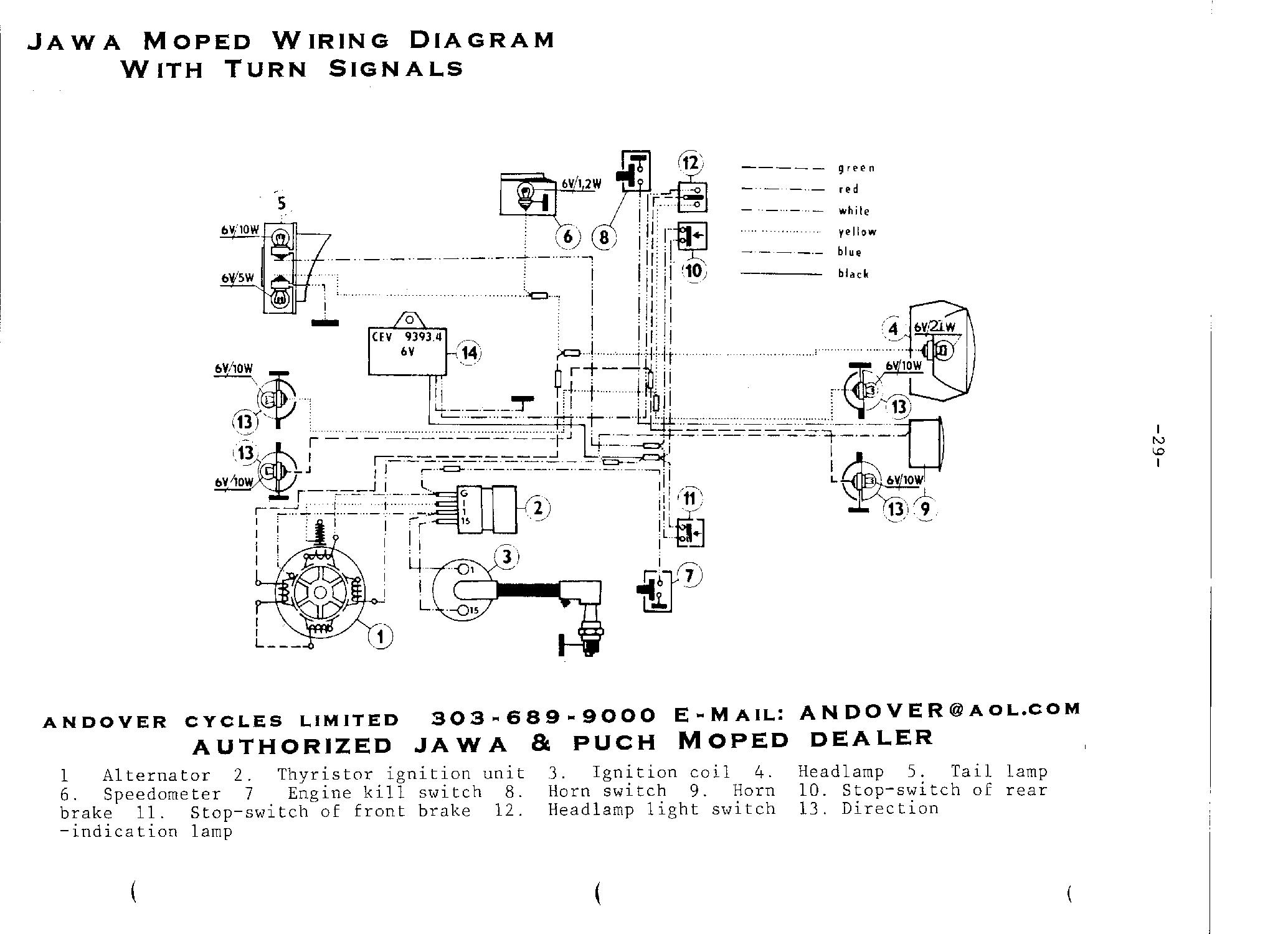 Jawa wiring diagrams: With turn signals ...